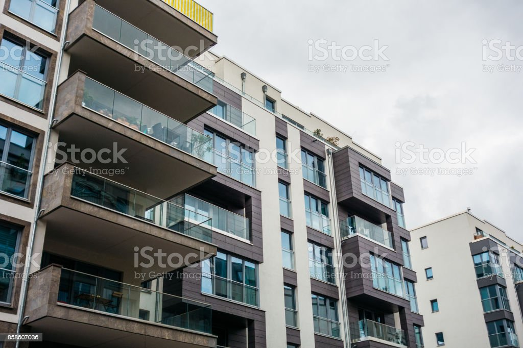 beautiful modern architecture with big glass balcony