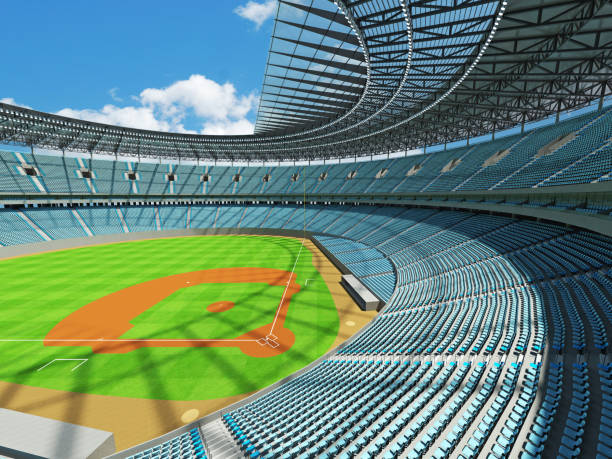 Beautiful modern baseball stadium with sky blue seats and boxes stock photo