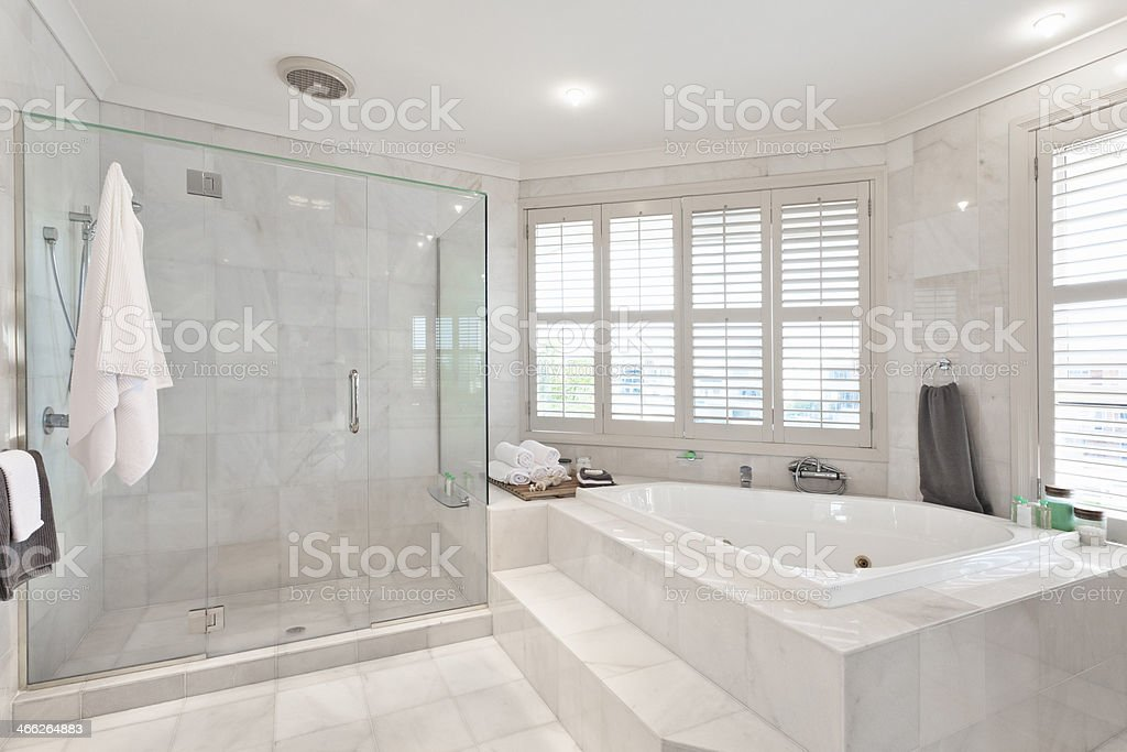 beautiful modern bathroom in australian mansion stock photo