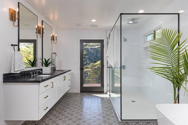 아름다운 현대식 욕실 - 화장실 가정용 시설 뉴스 사진 이미지