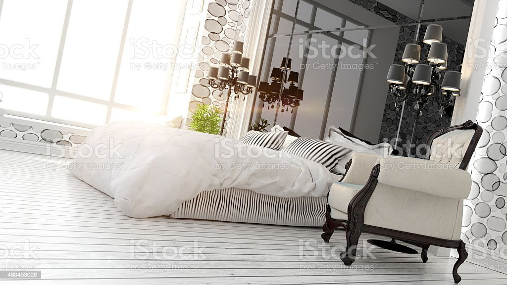 beautiful modern bedroom interior stock photo
