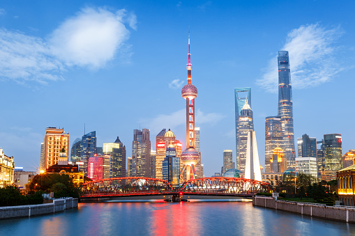 Beautiful modern city at night in Shanghai, China