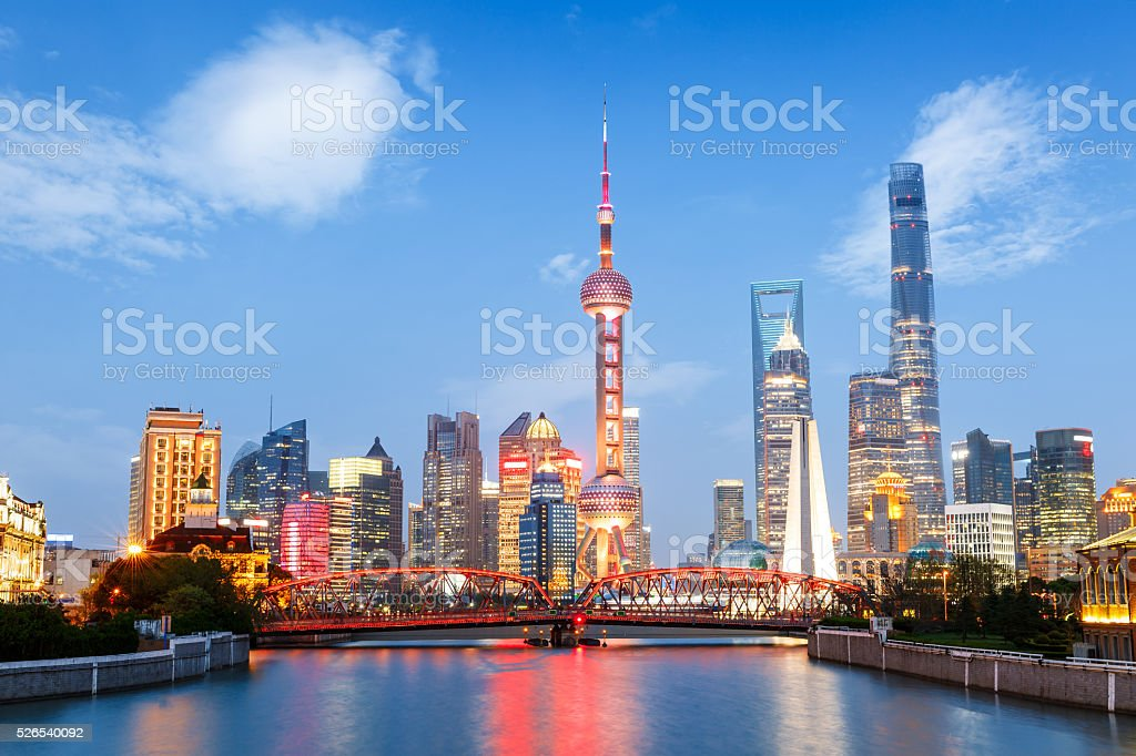 Beautiful modern city at night in Shanghai, China stock photo