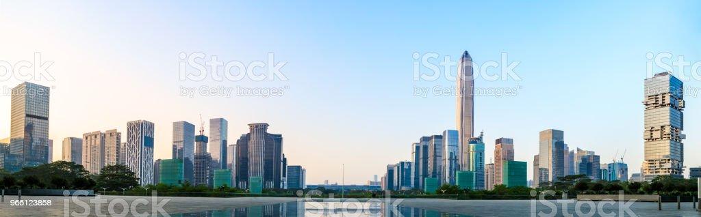 Beautiful modern city skyline panorama in Shenzhen - Стоковые фото Азия роялти-фри