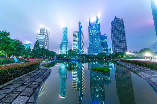 Beautiful modern cityscape at night in Shanghai,
