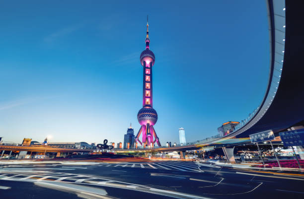 Beautiful modern cityscape at night in Shanghai,ŒChina Shanghai, China oriental pearl tower shanghai stock pictures, royalty-free photos & images