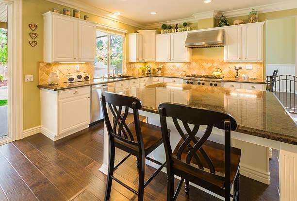 beautiful modern custom kitchen interior - landküche stock-fotos und bilder