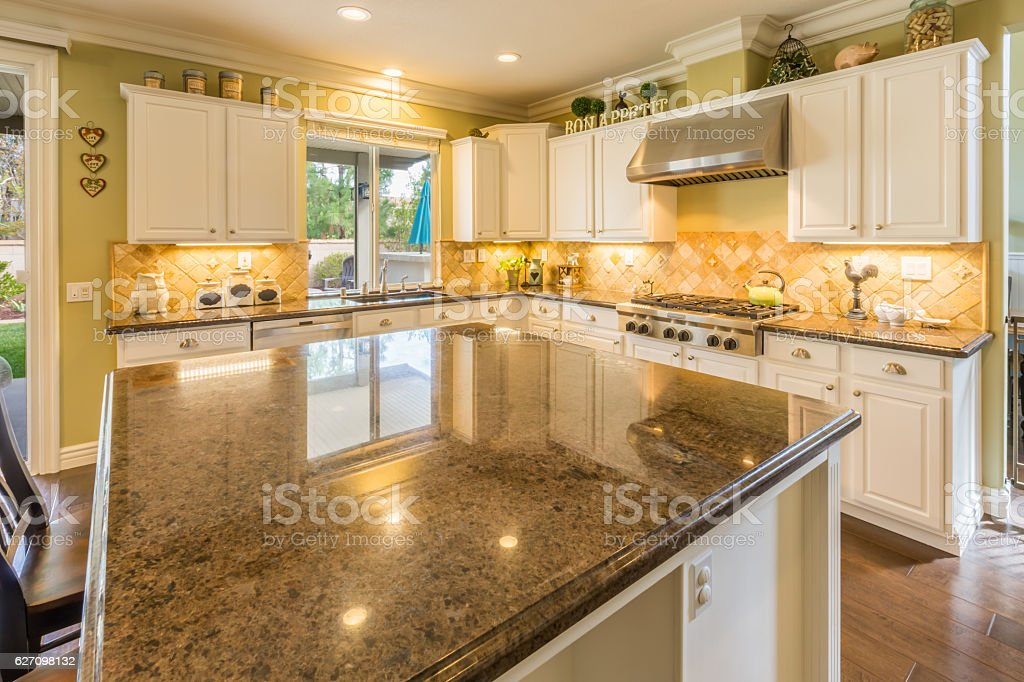Beautiful Modern Custom Kitchen Interior stock photo