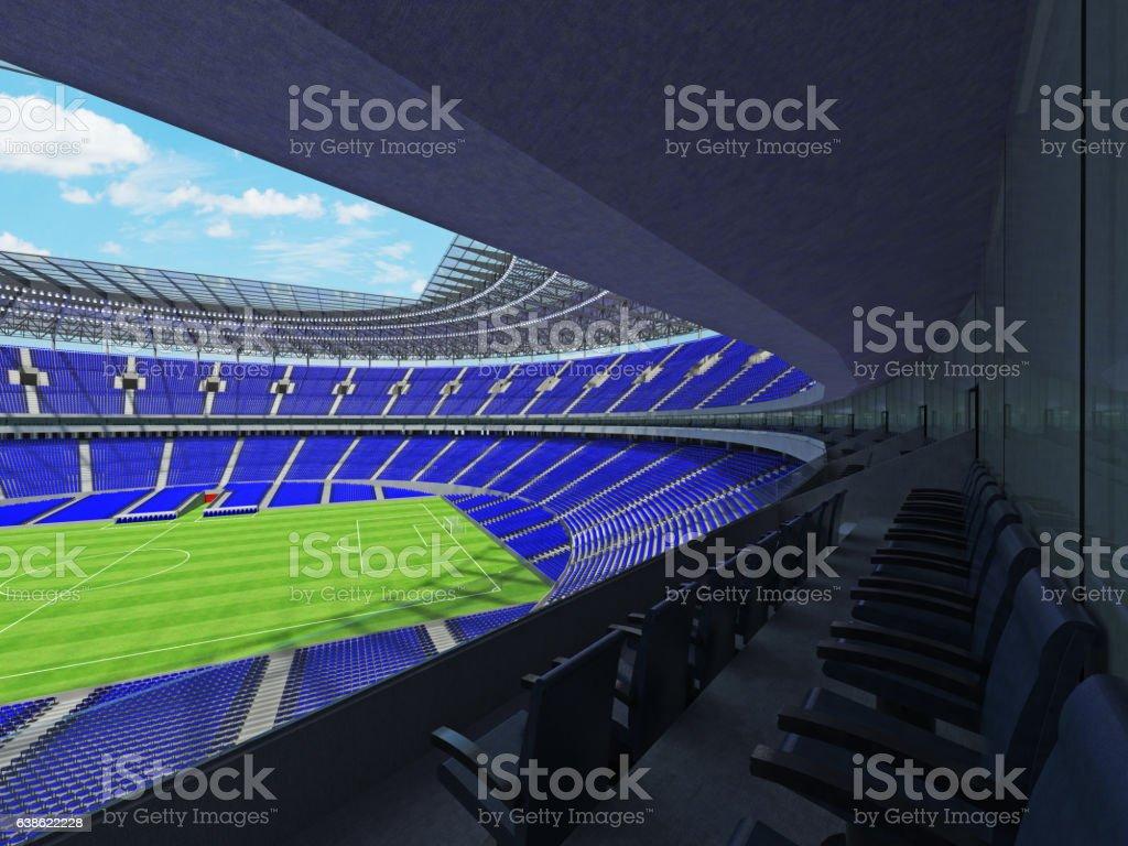 Beautiful modern football soccer stadium with  blue seats stock photo