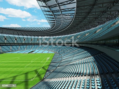 Beautiful modern round football -  soccer stadium with  sky blue seats and VIP boxes for hundred thousand fans