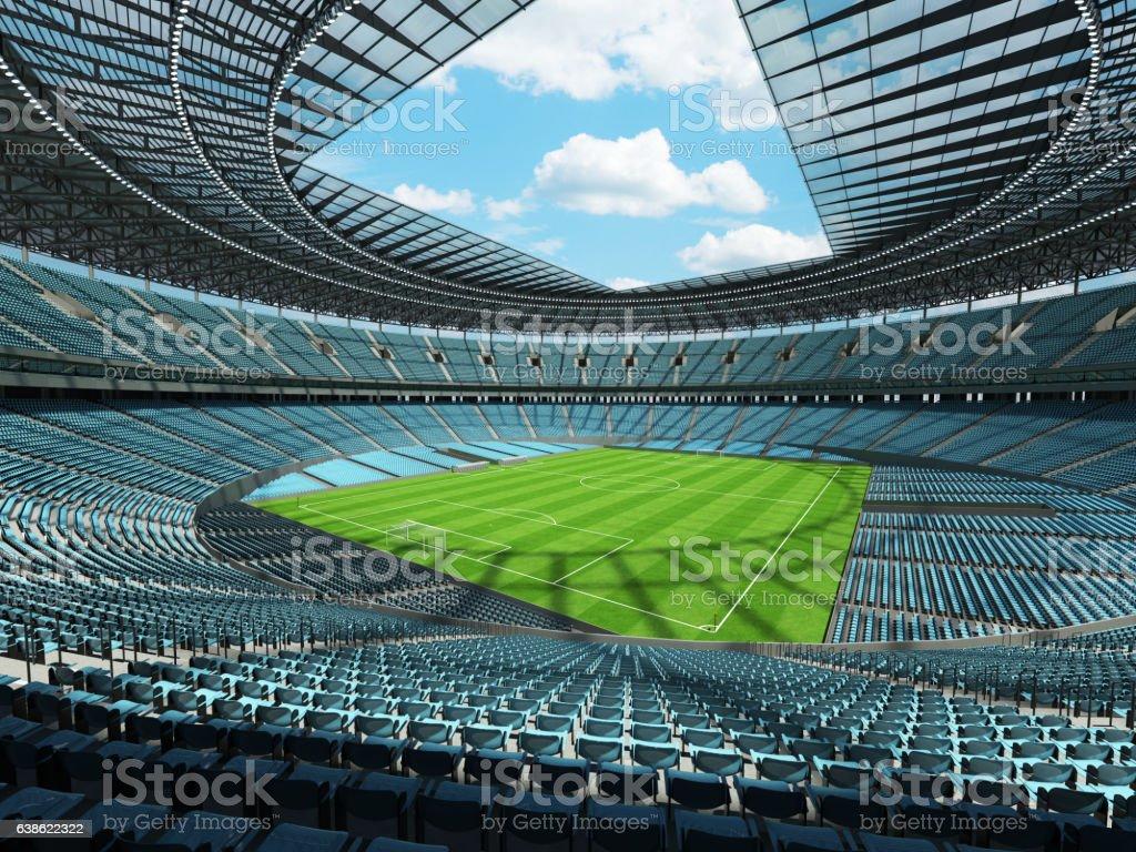 Beautiful modern football soccer stadium with  sky blue seats stock photo