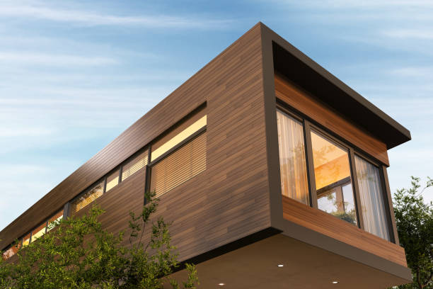 Beautiful modern house and beautiful sky Beautiful modern house and beautiful blue sky modern house stock pictures, royalty-free photos & images