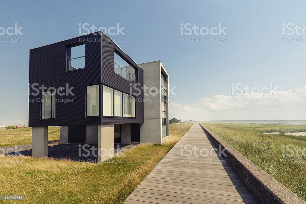 beautiful modern house near the beach royalty-free stock photo