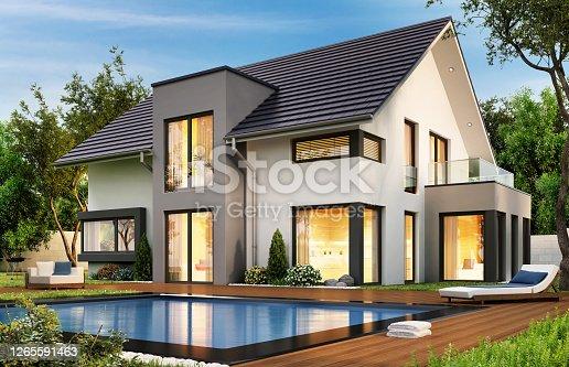 istock Beautiful modern house 1265591463