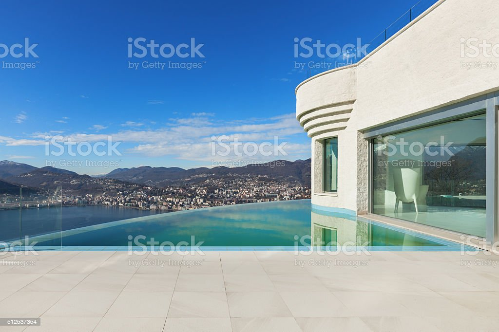 beautiful modern house stock photo