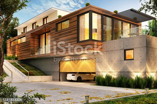697393252 istock photo Beautiful modern house with a large garage for cars 1151833004