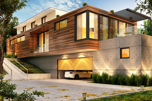 Beautiful modern house with a large garage for cars