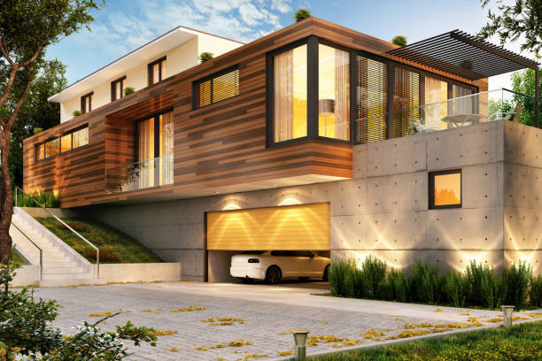 Beautiful modern house with a large garage for cars Beautiful modern big house with a large garage for cars modern house stock pictures, royalty-free photos & images
