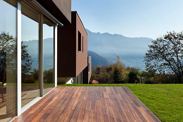 beautiful modern house with garden stock photo