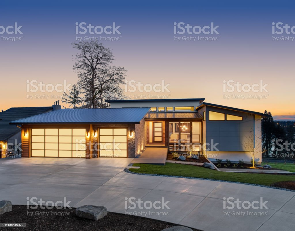 beautiful modern luxury home exterior at sunset features contemporary picture id1208206072