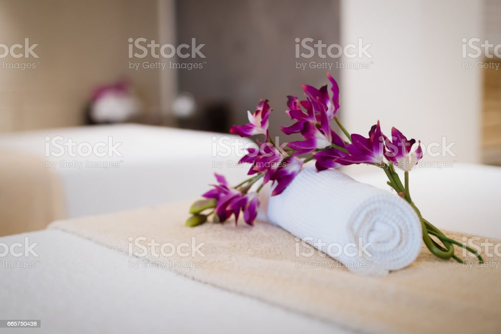 Beautiful modern massage room in spa resort stock photo