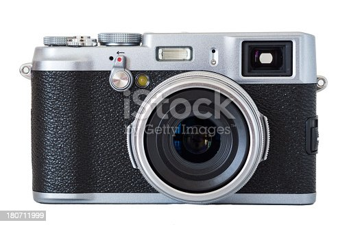 A digital camera with classic vintage/retro design.