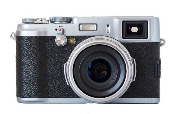 beautiful modern retro camera - camera photographic equipment stock photos and pictures