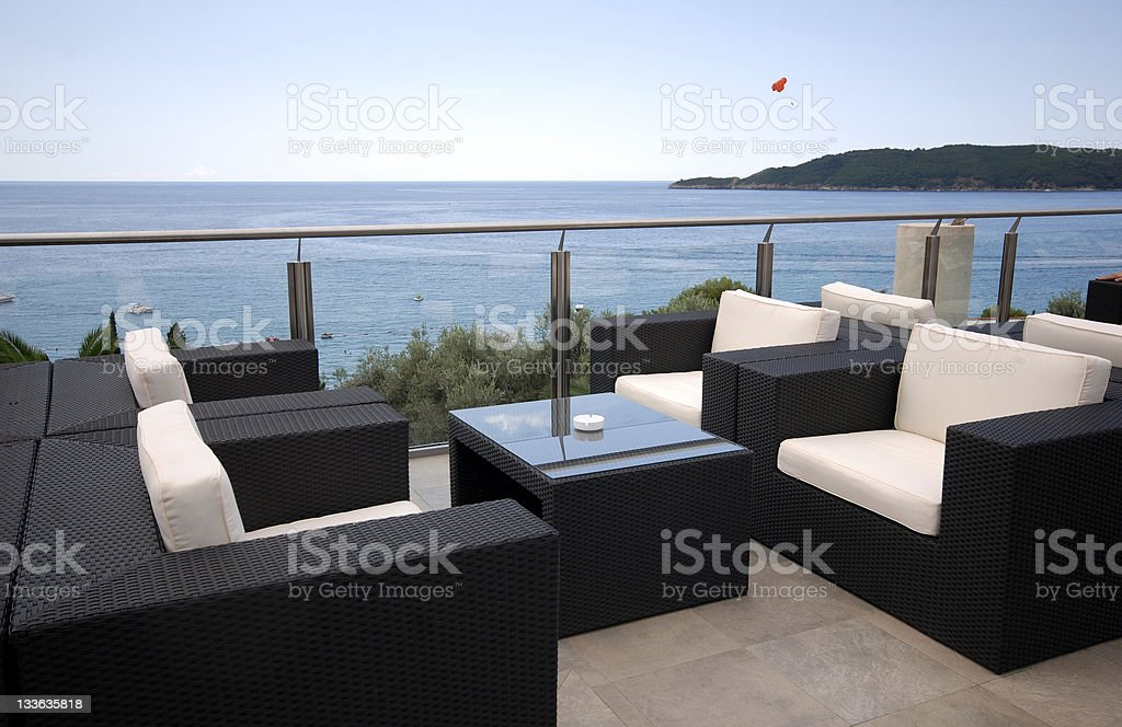 Beautiful modern terrace with a Mediterranean seascape view stock photo