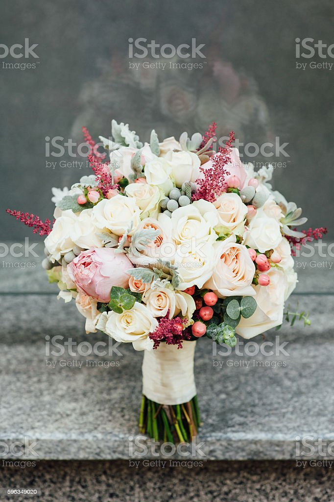 beautiful modern wedding bouquet on a stone slab royalty-free stock photo