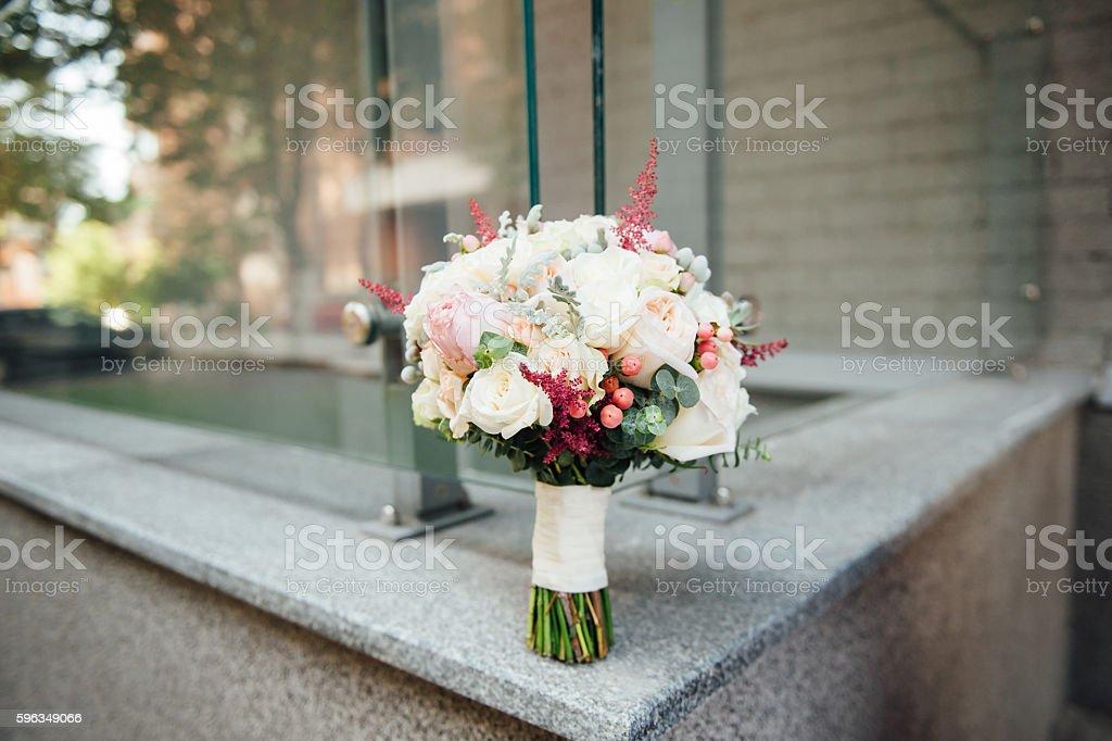 beautiful modern wedding bouquet on a stone slab royalty-free stock photo
