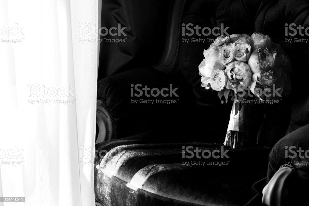 Beautiful modern wedding bouquet stock photo