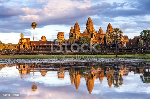 istock Beautiful moment with reflection of Angkor Wat on the lake surface during the sunset period in Siem reap, Cambodia 842919890