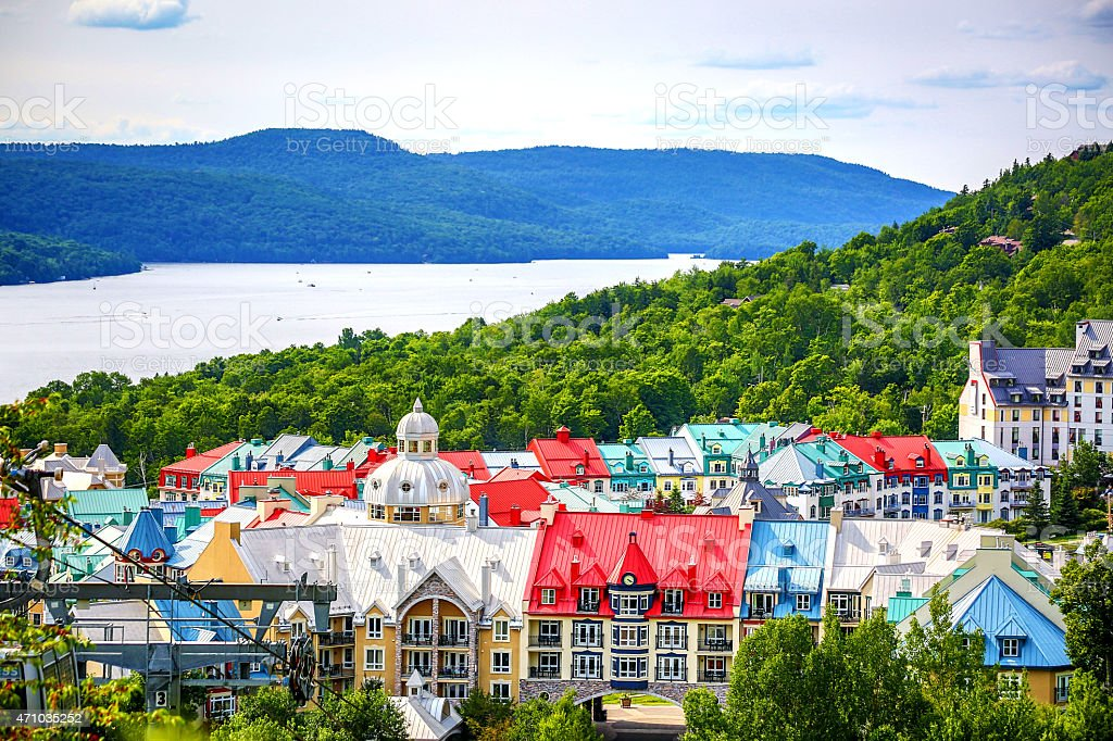 Beautiful Mont tremblant in Quebec, Canada. stock photo