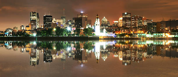 Beautiful Montreal Reflection at Night stock photo
