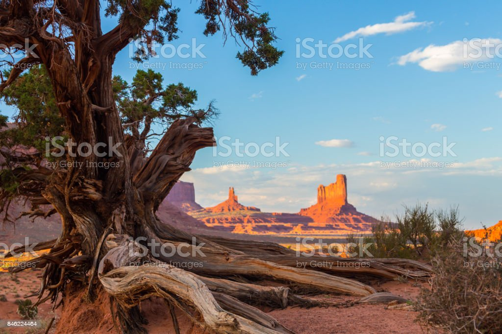 Beautiful Monument Valley, Arizona, scenery, under warm sunset light stock photo