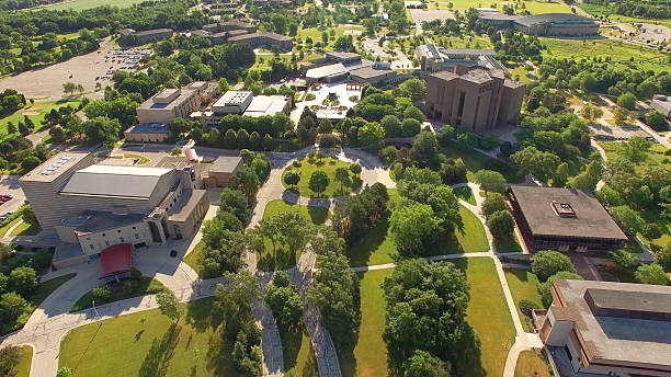 beautiful morning at university of wisconsin green bay campus - green bay wisconsin stock photos and pictures