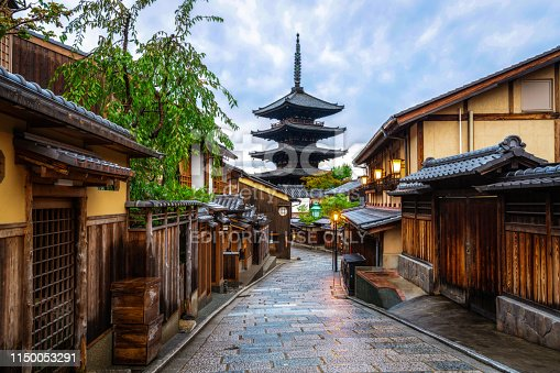 Kyoto, Japan - June 17, 2018: Beautiful morning at Yasaka Pagoda and Sannen Zaka Street in summer, Kyoto, Japan. Yasaka Pagoda is the famous landmark and travel attraction of Kyoto.