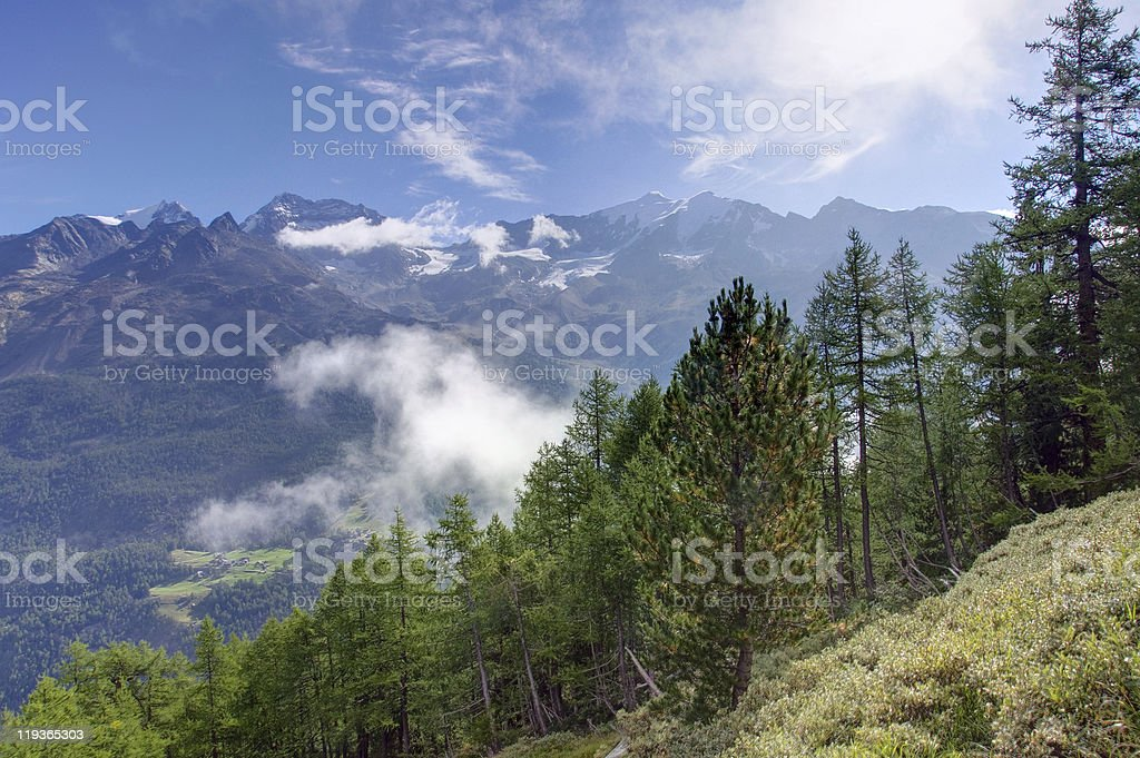 Beautiful morning in the Valais stock photo