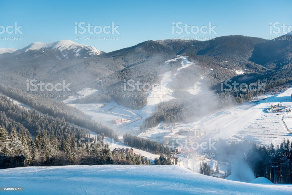 Schönen Guten Morgen Landschaft Natur Skipisten Skiort In