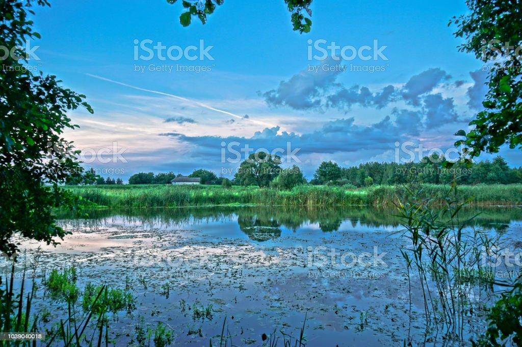 Schönen Guten Morgen Landschaft Mit Einem Schönen Fluss Und