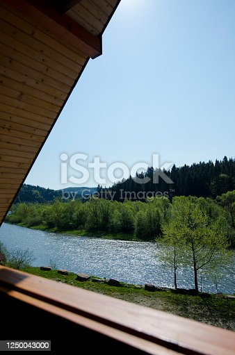 landscape nature view background. view from window at a wonderful landscape nature view with space for your text in