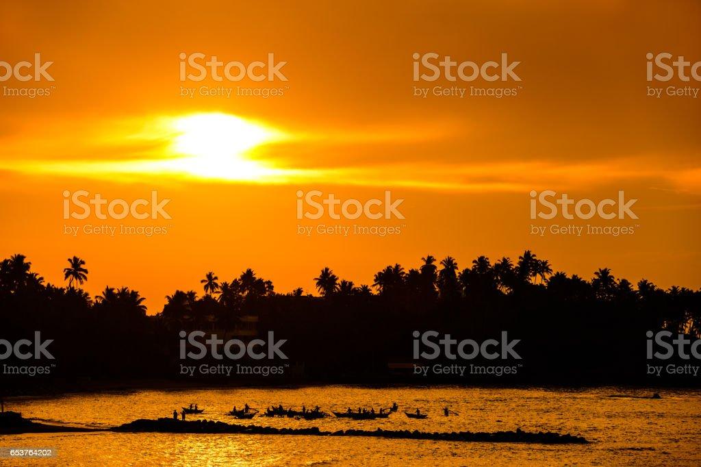 Beautiful morning on the beach in Sri Lanka. Hot landscape. stock photo