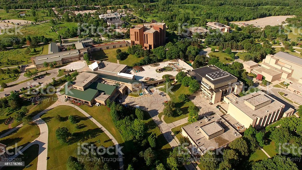Beautiful Morning Over University of Wisconsin Green Bay Campus stock photo