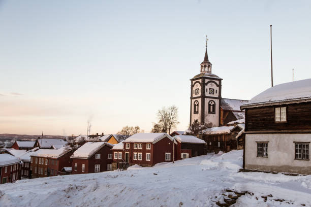 A beautiful morning panorama of a small Norwegian town Roros stock photo