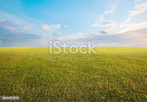 beautiful morning sky and empty green grass use as background backdrop