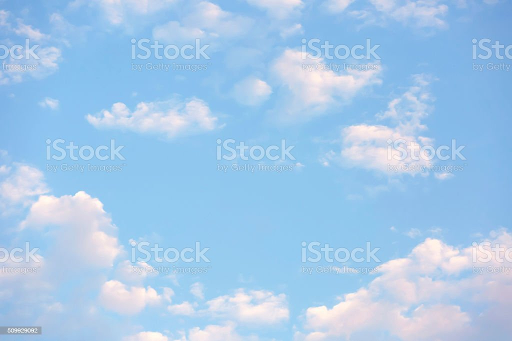 Beautiful morning sky with soft pink clouds background, copy space stock photo