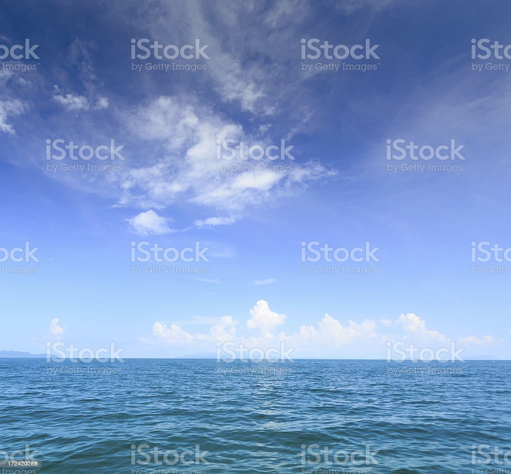 Beautiful morning sunrise at deep blue tropical sea royalty-free stock photo