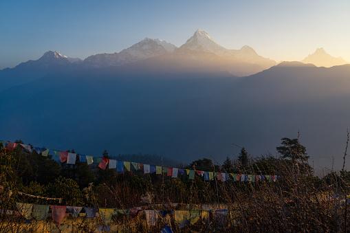 Vackra Soluppgången Över Annapurna Bergskedja Himalaya Berget Pokhara Nepal-foton och fler bilder på Annapurna