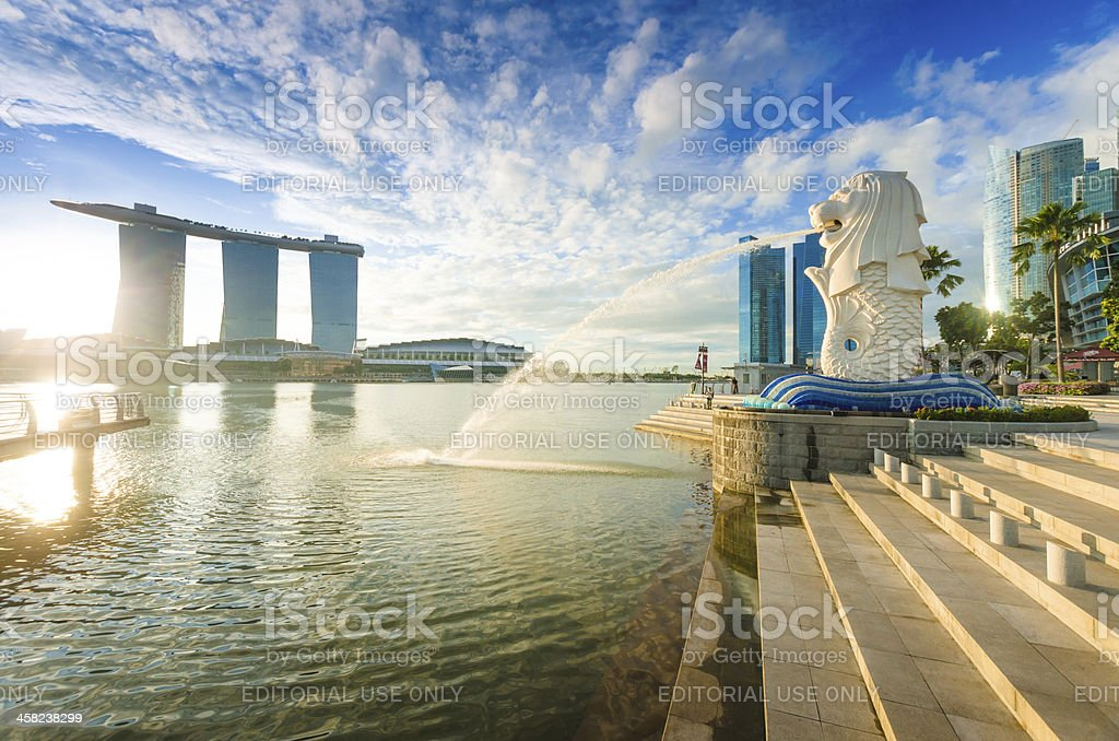 Beautiful Morning Sunshine in Merlion Park Singapore stock photo