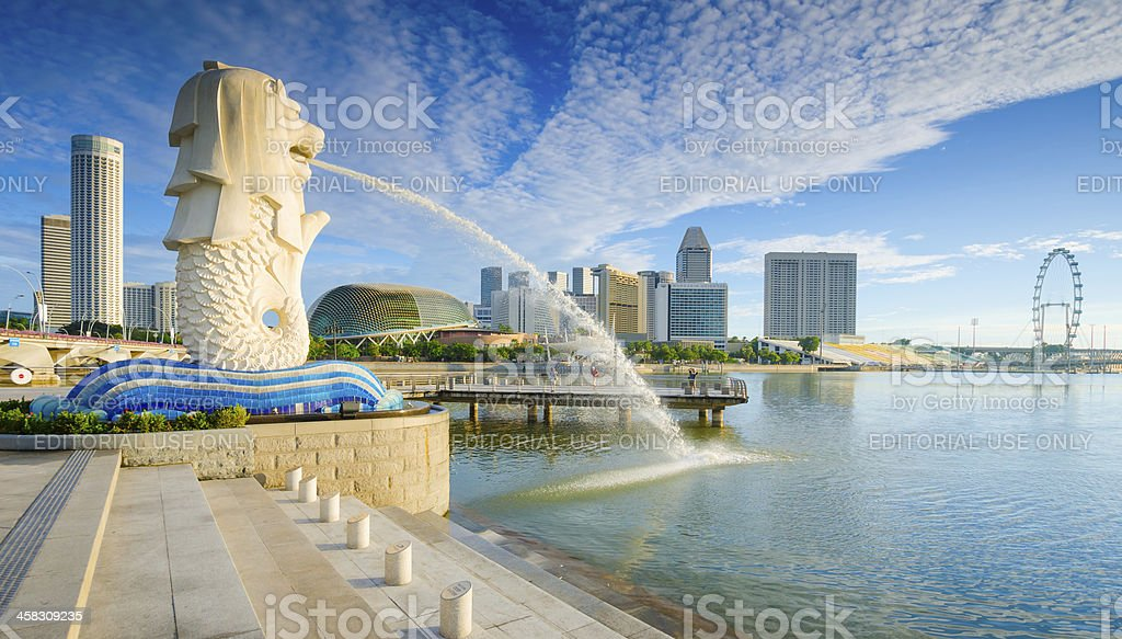 Beautiful Morning Sunshine in Merlion Park Singapore stock photo